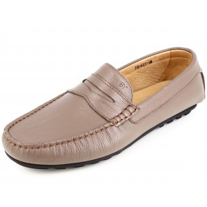 Mocassins Hommes en Cuir Beige Chaussures Belym 605