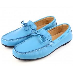 Mocassins Hommes en Cuir véitable Bleu ciel 603 belym