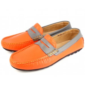 Mocassins Hommes Orange Gris en cuir grainée 605 Belym