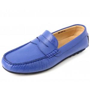 Mocassins Hommes en Cuir Bleu Bic Belym 605