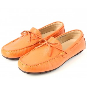Mocassins Homme en véritable Cuir Orange belym 603