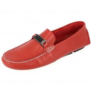 Chaussures Homme Mocassins sports en cuir Rouge