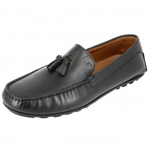 Belym Chaussure mocassin à pompns en cuir noir
