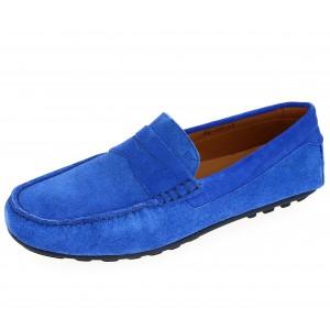 Chaussures Homme Mocassins en cuir Bleu Bic daim
