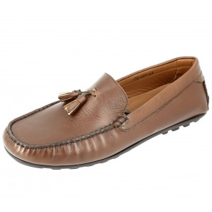 Chaussures Homme Mocassins en cuir Camel avec pompons