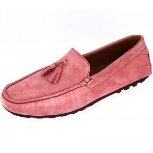 Chaussures Mocassins homme en cuir daim rose avec pompons