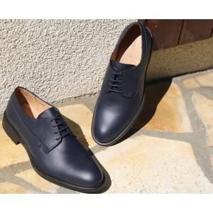 chaussures homme derby en cuir bleu marine