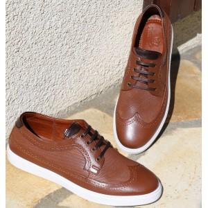 Chaussures Sneaker homme en cuir Cognac