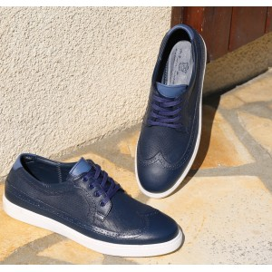 Chaussure sneaker détente homme en cuir bleu