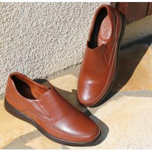 Chaussure Médicale homme Mocassin en cuir Cognac Belym