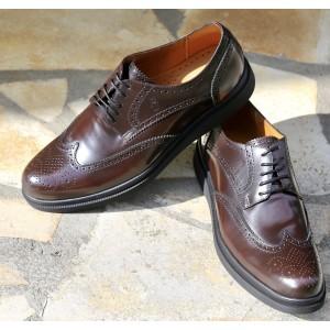 Chaussure Derby homme en cuir verni Bordeaux