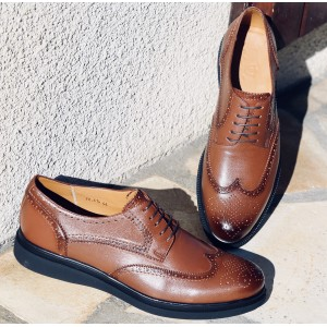 Chaussure homme derby en cuir Cognac