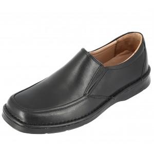 Chaussure homme mocassin Richelieu en cuir noir sans lacets