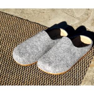 Sabot pantoufle femme en laine Gris