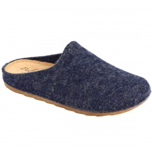 Sabot Pantoufle femme en laine bleu