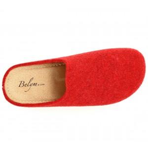 Sabot Pantoufle femme en laine rouge a enfilé