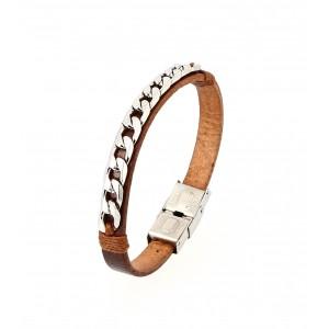 Bracelet gourmette homme en cuir Marron