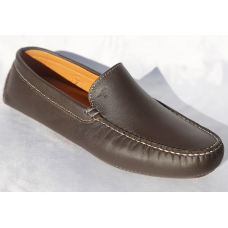 CHAUSSURE HOMME MOCASSIN CUIR MARRON