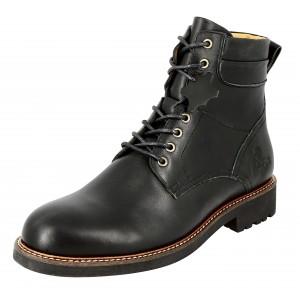 Boots Homme a lacets en cuir noir