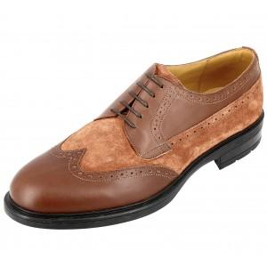 Chaussure Derby Homme en cuir lisse varier avec daim Cognac