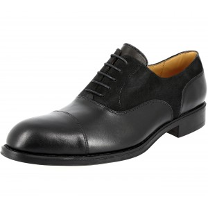 Chaussure Richelieu Homme de ville en cuir variée lisse et daim noir