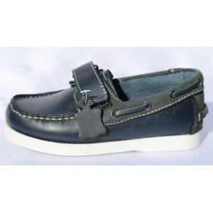 Chaussure Enfant Bateaux Mocassin Cuir Bleu Marine