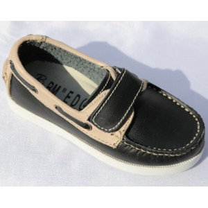 Chaussure Enfant Mocassin Cuir Noir Beige