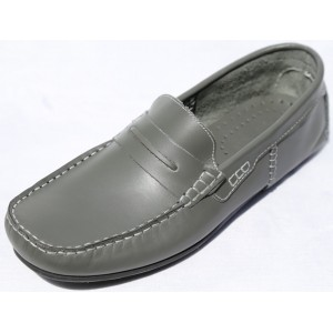 CHAUSSURE HOMME MOCASSIN CUIR GRIS