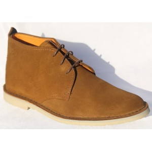 Belym Chaussure Homme Derby Montante Cuir Daime Camel