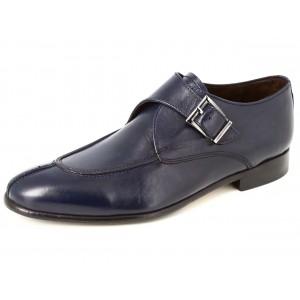 Belym Chaussures Hommes de Ville en Cuir Bleu Marine