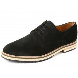 Belym Chaussure Homme de Ville Derby en Cuir Daim Noir
