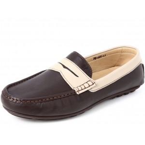 Belym Chaussures Mocassins Homme ville en Cuir Marron Beige
