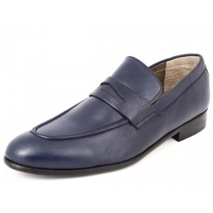 Mocassin Chaussures hommes de ville en cuir bleu marine