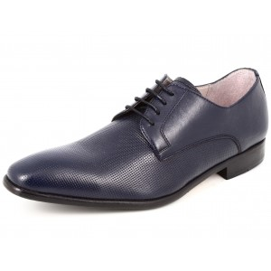 Chaussures hommes ville en cuir bleu marine a lacets